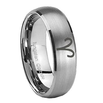 8mm Aries Zodiac Dome Brushed Tungsten Carbide Wedding Bands Ring