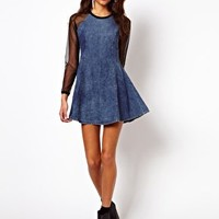 Motel Margie Denim Swing Dress at asos.com