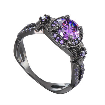 Trendy Wedding Bands Alloy Black Gun Color Purple Cubic Zircon Rings for Women Fashion Party Engagement Ring jewellery -03328