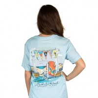 I'd Rather Be at the Beach Pocket Tee in Light Blue by Lauren James