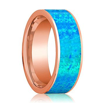Mens Wedding Band 14K Rose Gold with Blue Opal Inlay Flat Polished Design