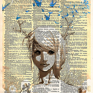 Girl with antlers - Deer girl antlers and butterflies - dictionary page art print