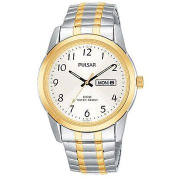 Pulsar Mens Two-Tone Expansion Band Watch - Silver/White Dial - Day/Date Display