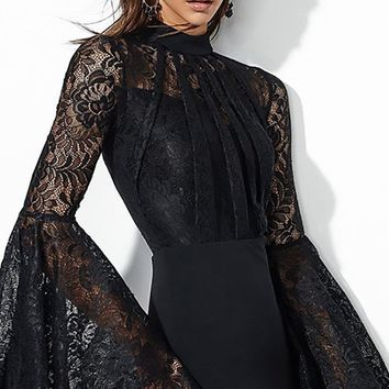 You Flare It Well Black Lace Long Bell Sleeve Mock Neck Bodycon Bandage Midi Dress