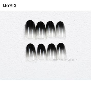 24pcs black fake nails gradient nail tips round shape