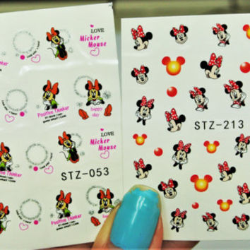 2 Sheets Red Mickey Mouse Nail Arts, Orange Minnie Mouse Nail Designs, Nail Art, water Decals, Mickey Mouse, Minnie Mouse, Cartoon Nails,