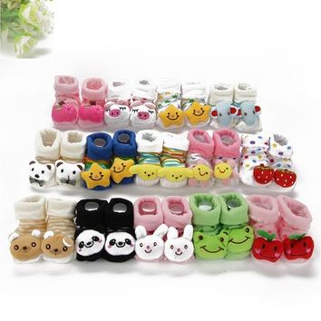 Kids Baby Unisex Newborn Animal Cartoon Socks Cotton Shoes Booties Boots 0-10M
