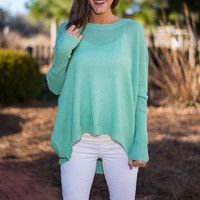 Just Breathe Sweater, Mint