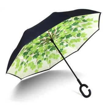 Ceiourich Green Leaf Printed Double Layer Car Reverse Umbrellas For Men Sunny And Rainy Windproof Umbrella-001