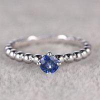 4.2mm Round Sapphire Engagement Ring Diamond Wedding Ring 14K White Gold Heart Filigree Unique Design