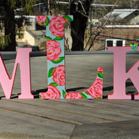 Lilly Pulitzer Inspired Hand Painted Monogram Letters