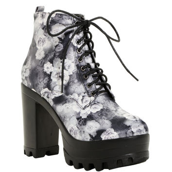 Black & White Floral Platform Booties