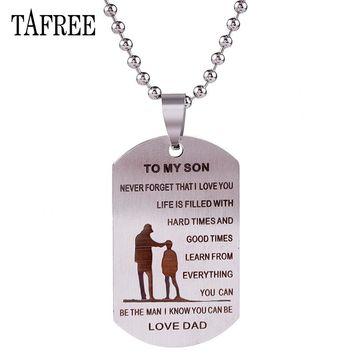 My Son Love Dad Stainless Steel With Ball Chain Pendant Necklace