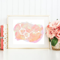 Serotonin Art Print - Molecule of Happiness Pink Watercolor Art Print - Unique Gift For Girlfriend - Gifts under 20 - Science Art Gift