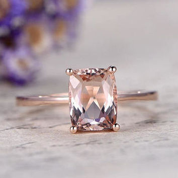 18k rose gold cushion cut Pink Morganite engagement ring,promise ring for her,custom made fine jewelry,Prong,antique morganite bridal ring