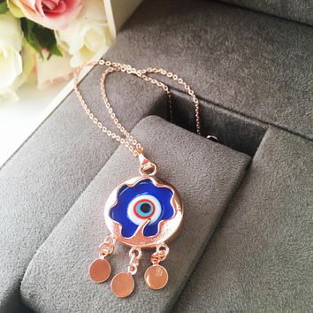 Blue evil eye necklace, murano necklace, rose gold necklace, charm necklace, evil eye charm
