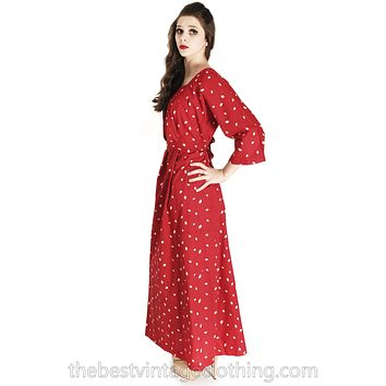 Vintage 1974 Marimekko Red Polka Dot Maxi Dress Designer Small Cotton
