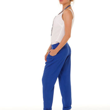 Bright Blue Pants,Summer Fashion,Women's Pants, Casual Pants for Women,Street Style