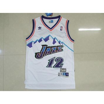 Vintage Utah Jazz #12 John Stockton White Classic Throwback Swingman Jersey Men