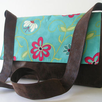 Messenger Bag in Brown and Teal by jazzygeminis on Etsy