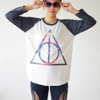 S,M,L -- Galaxy Deathly Hallows Shirts Harry Potter Movie Shirt Baseball Shirts Jersey Raglan Long Sleeve Shirts Unisex Shirts Women Shirts