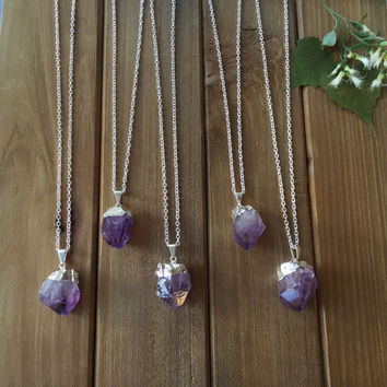 Raw Amethyst Point Necklace // Electroplated Silver Natural Amethyst // Layering Necklace