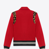 TEDDY JACKET IN Red Virgin Wool and Black and Beige Cheetah Printed Cowhide