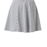Light Grey Grid Check Skater Skirt