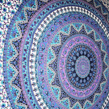 Large  Mandala Tapestry Hippie Hippy Wall Hanging Throw Bedspread Dorm Tapestry Decorative Wall Hanging , Picnic Beach Sheet Coverlet