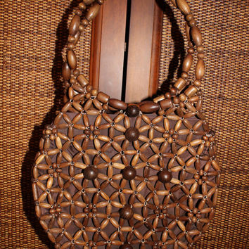 Vintage 1970's  Hippie Boho Wooden Bead Shoulder Bag