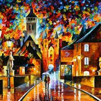 "Night In The Old City — PALETTE KNIFE1 Oil Painting On Canvas By Leonid Afremov - Size: 40"" x 30"" (100cm x 75cm)"