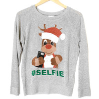Selfie Rudolph Lightweight Tacky Ugly Christmas Sweater