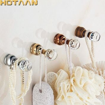 Crystal Hook Antique Brass Wall Clothes Rack Cloth Hook Wall Hook Robe Hook For Bathroom Accessory Hanger Copper Material YT3011