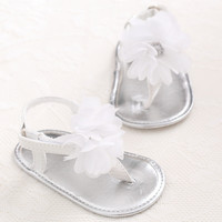 New Summer Sweet Big Flower PU Leather Infants Toddler Newborn Baby Girl Princess Crib First Walkers Shoes Footwear Thongs