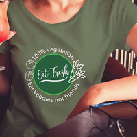 Vegetarian Eat Fresh T-shirt - 100% Vegetarian t-shirt - Eat Veggies not Friends T-shirt  Women's short sleeve t-shirt