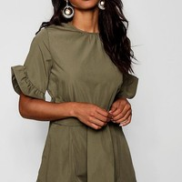 Natasha Safari Style Tie Belt Playsuit | Boohoo