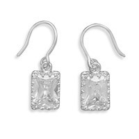 8x6mm Rectangle Cubic Zirconia Crown Edge French Wire Earrings