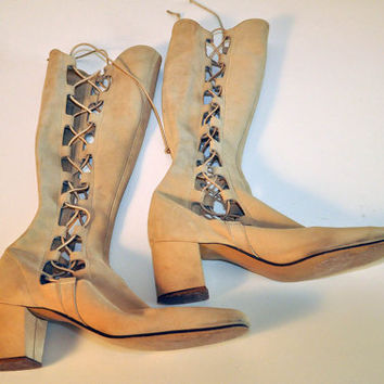 Lace-up Mod Knee-High Leather Boots 1960s 1970s Go-Go Gladiator 6 1/2