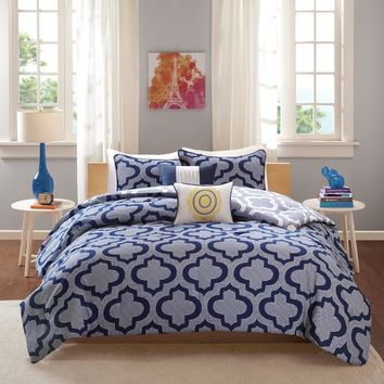 Intelligent Design Elena Navy Reversible 5-piece Comforter Set | Overstock.com Shopping - The Best Deals on Teen Comforter Sets