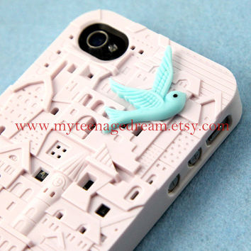 iPhone 4 Case iPhone 4s Case  Apple iPhone Case 4s white European Style Building Hard Case for iPhone Case, with a lovely blue bird