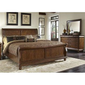Liberty Furniture Rustic Traditions Sleigh Bed & Dresser & Mirror in Rustic Cherry Finish