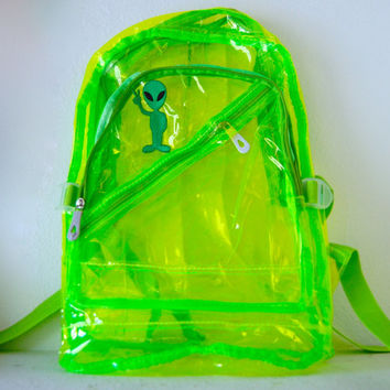 Green Alien Plastic Clear Backpack by SicTransitGloriaa on Etsy