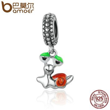 925 Sterling Silver Lovely Slow Snail Color Enamel Pendant Charms fit Women Charm Bracelets Necklace DIY Jewelry SCC345