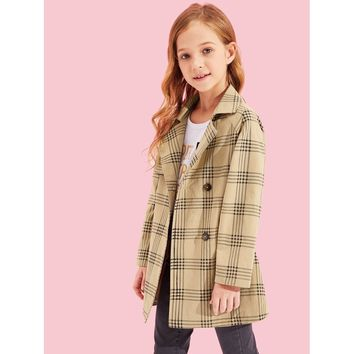 Girls Double Button Plaid Print Jacket