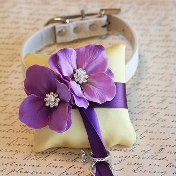 Yellow and Purple Dog Ring Bearer Collar, wedding color, ring pillow ideas