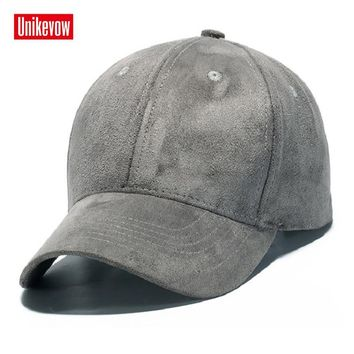Trendy Winter Jacket Brand UNIKEVOW The Faux Suede Baseball Cap Unisex Outdoor Snapback Hat  Winter solid Caps Hip Hop hats for men & women AT_92_12