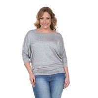 Plus Size Solid Gray 3/4 Sleeve Tunic Top