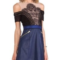 Self-Portrait Navy and Nude Infinity Dress Size USA 6 NWT $335