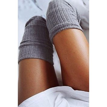 8DESS  Knitting High Knee Socks Long Sexy Stockings Female Hosiery Casual High Socks