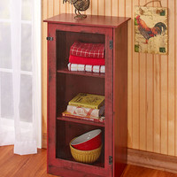 Rustic Country Cabinet 3 Shelves Mesh Detail Distressed Finish Storage Red Green Black